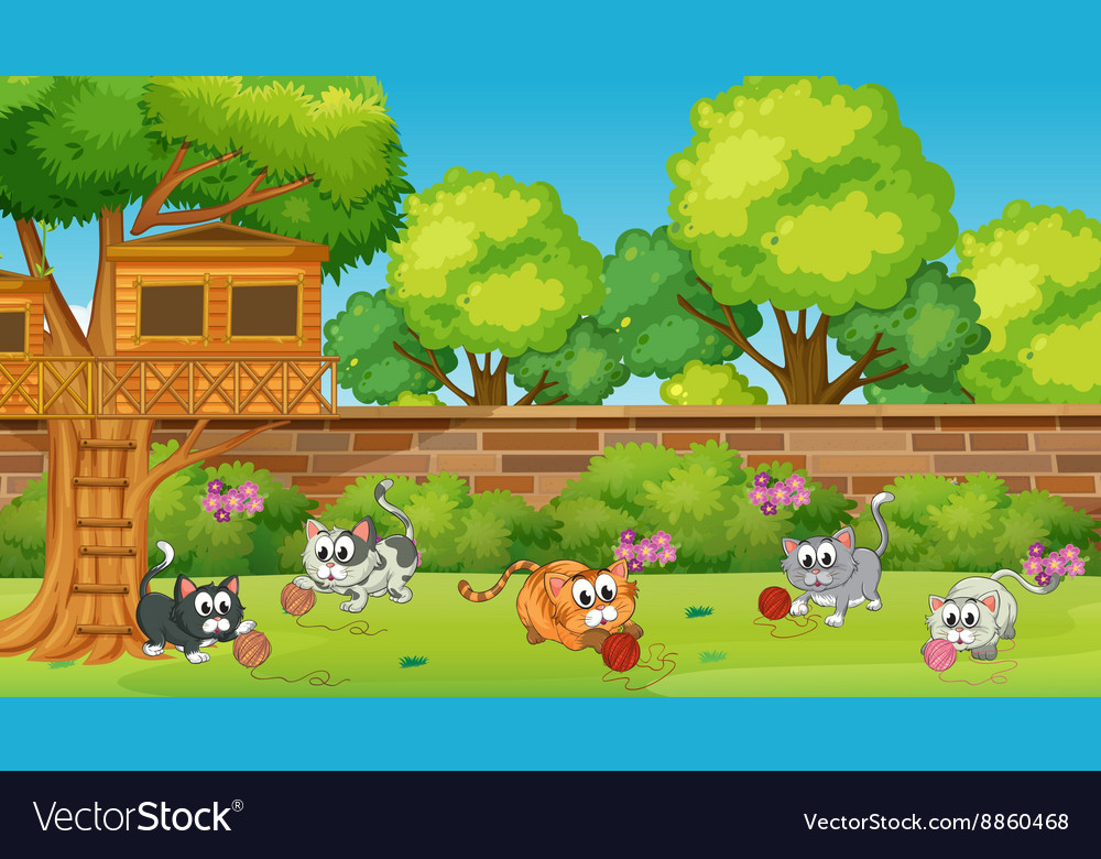 Five kittens playing in the garden vector