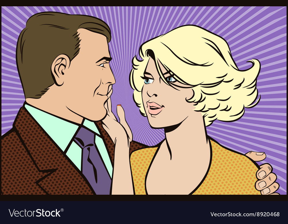 People in retro style pop art loving couple vector