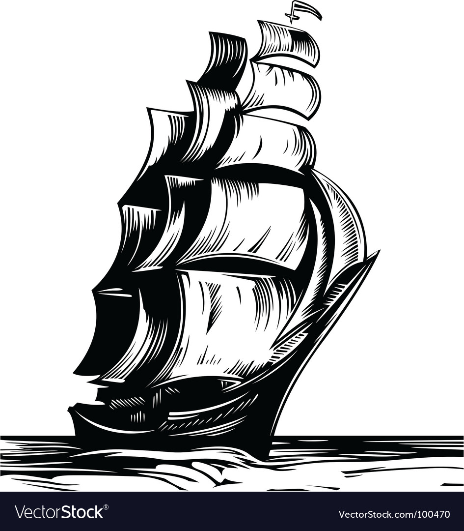 Sail ship vector