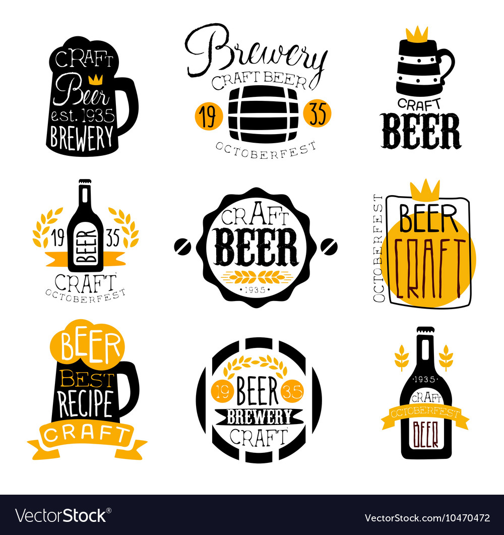 Craft brewery set of logo design templates vector