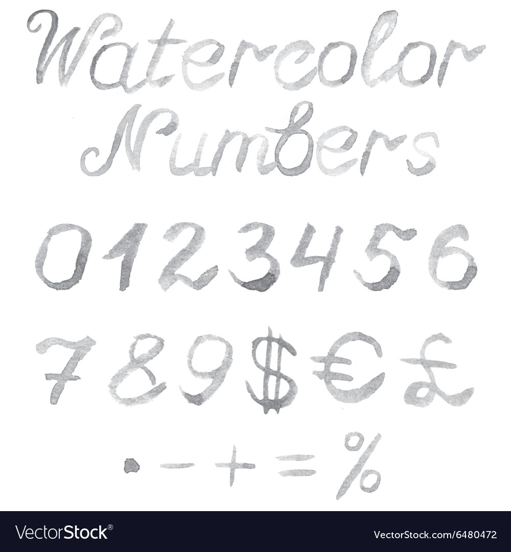 Hand drawn watercolor numbers vector