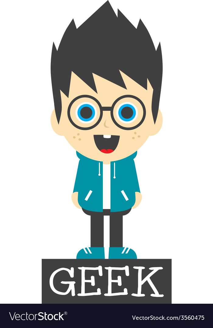 Geek boy cartoon vector