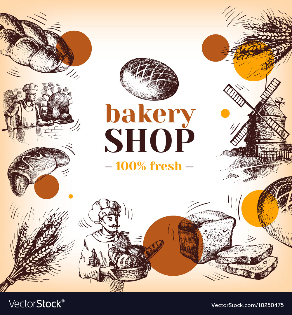 Vintage bakery sketch background sketch hand drawn vector