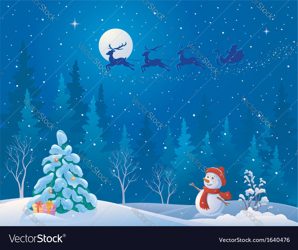 Santa sleigh and greeting snowman vector