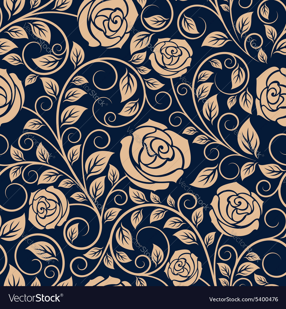 Vintage roses flowers seamless pattern vector