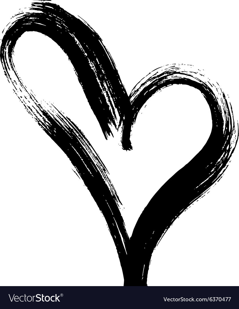 Hand drawn heart ink calligraphy vector