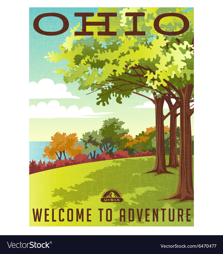Retro travel poster series ohio landscape vector
