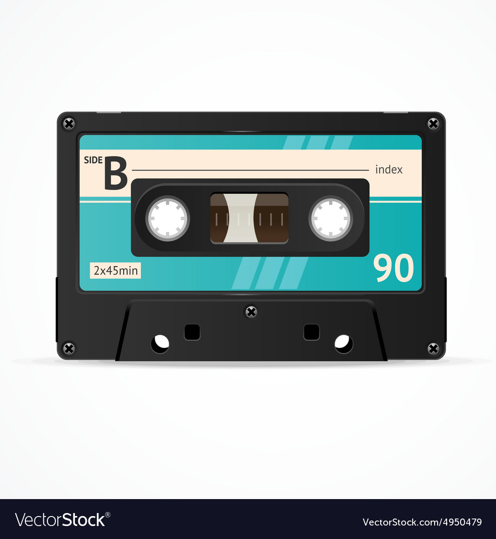 Blue cassette tape isolated vector