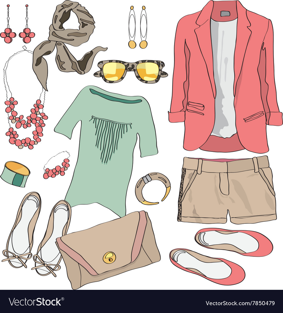 Casual women clothes collection vector