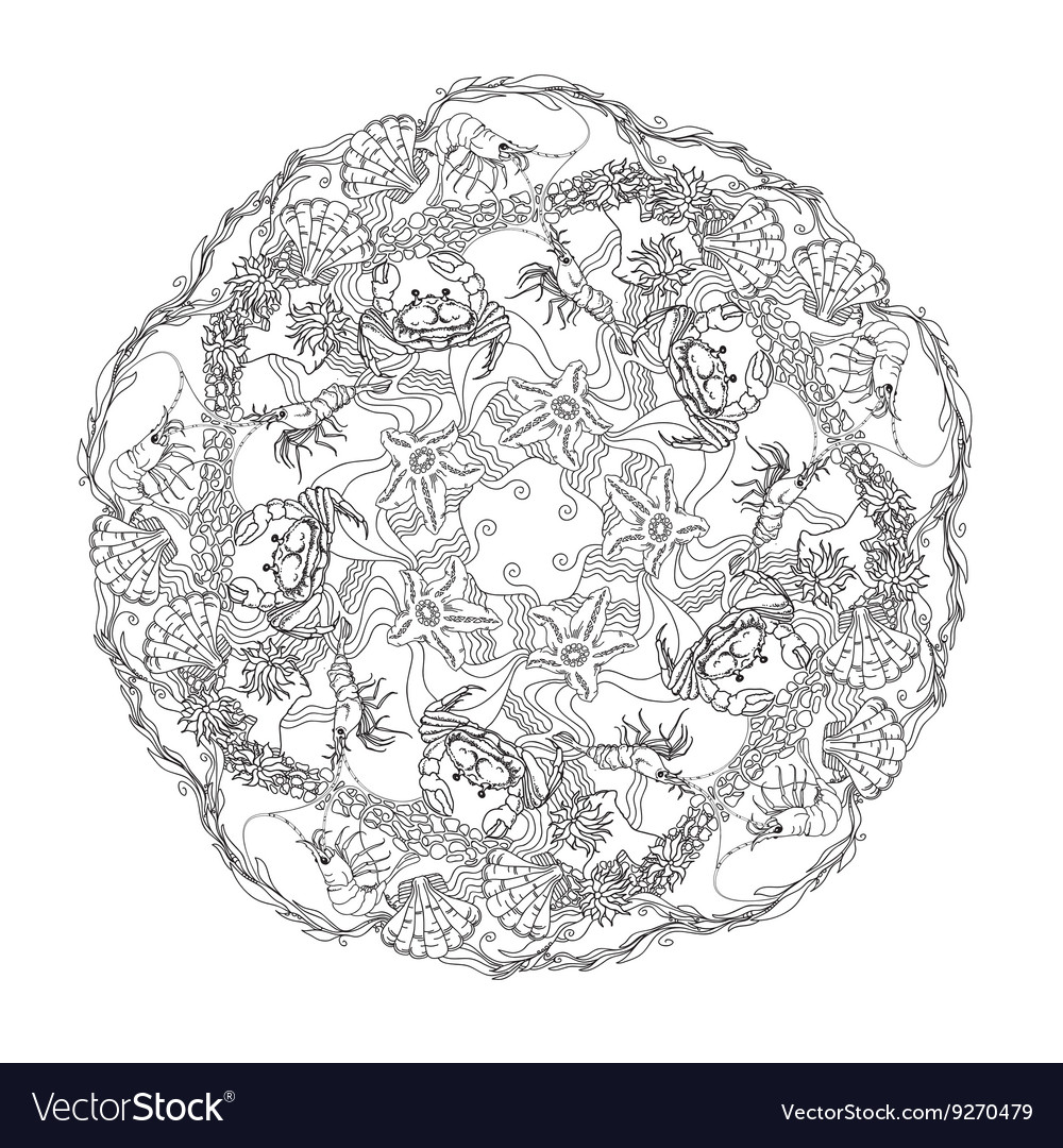 Hand drawn marine doodle circle ornament vector