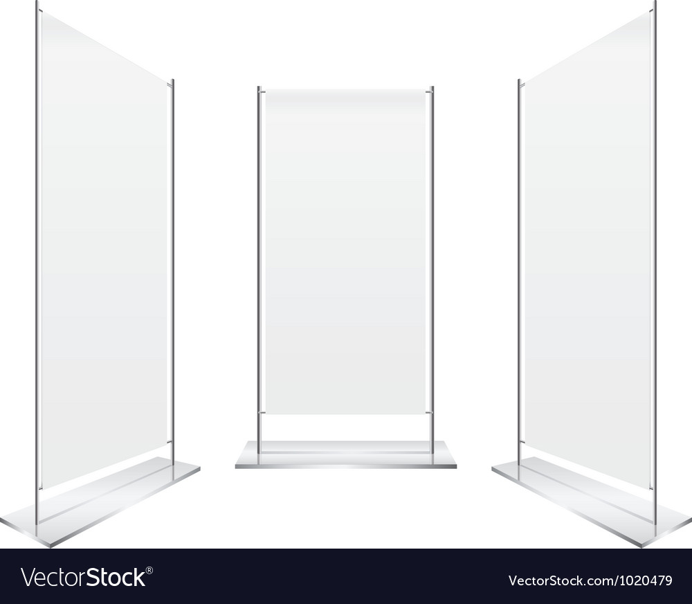 Perspective blank roll up banner display vector
