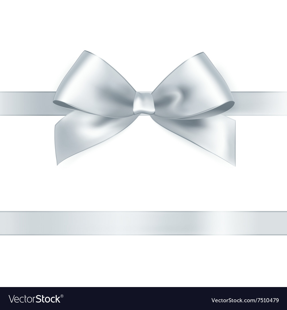 Shiny white satin ribbon vector