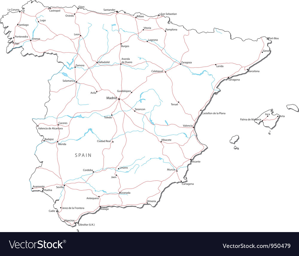 Spain black white map vector