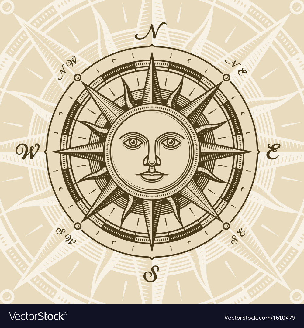 Vintage sun compass rose vector