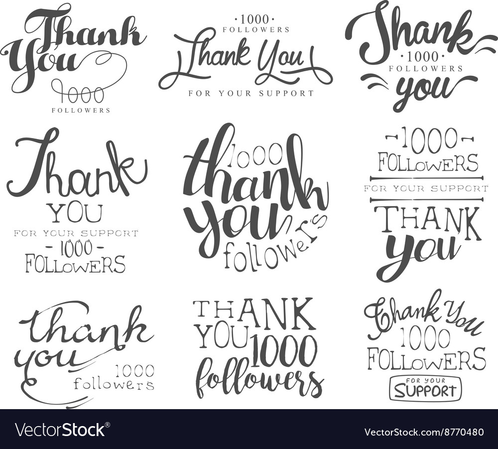 Thanking cards for the social media followers set vector