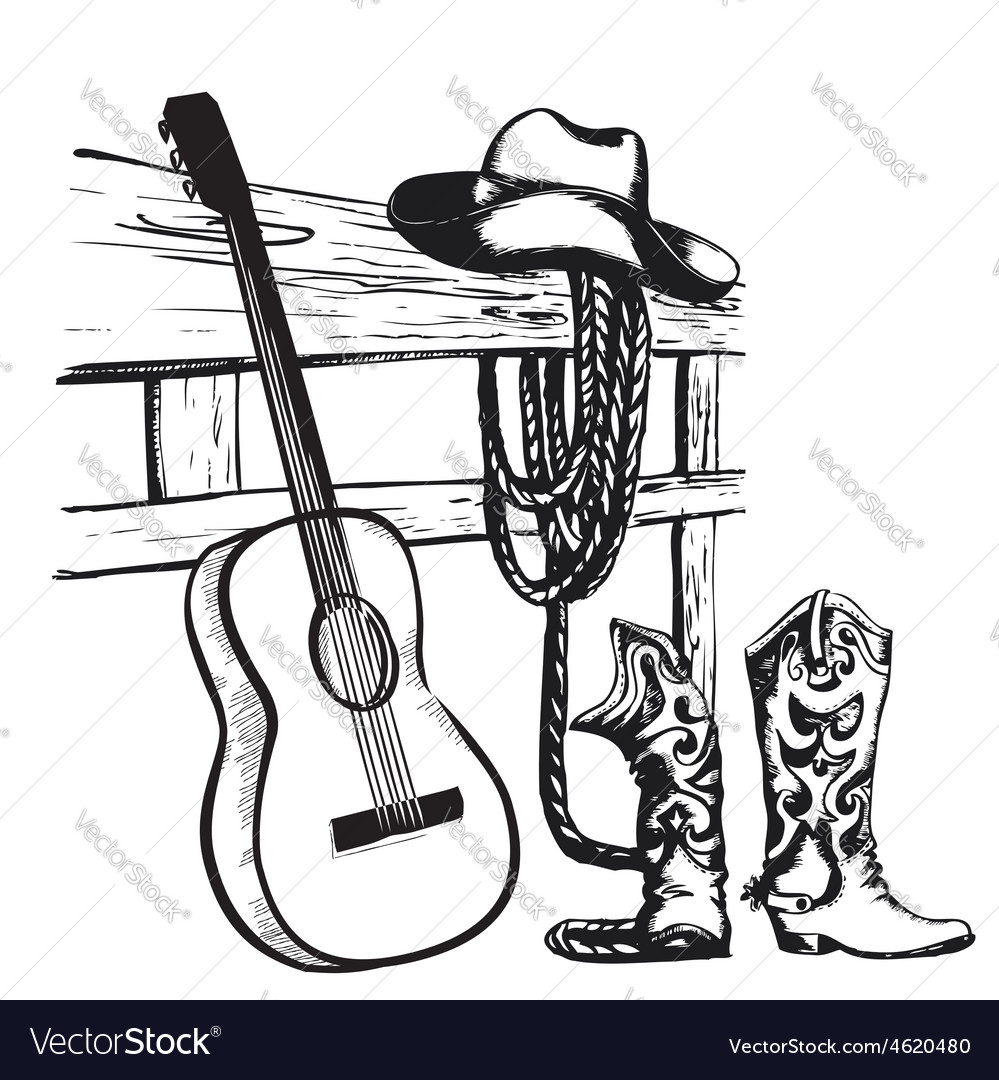 Vintage poster with cowboy clothes and music vector