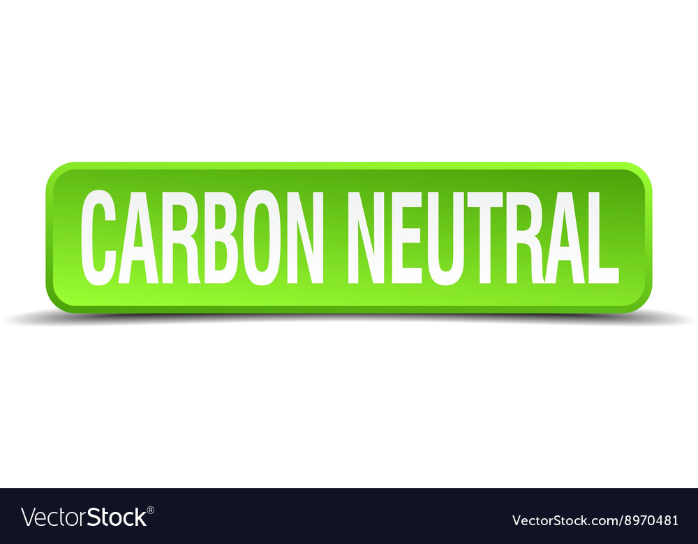 Carbon neutral green 3d realistic square isolated vector