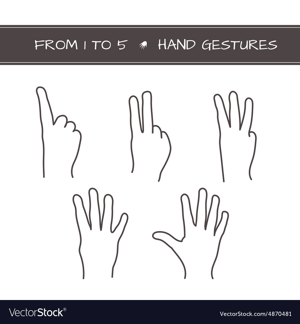 Set of isolated sketches of hands with count from vector