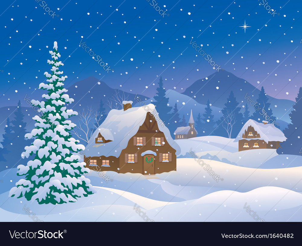 Christmas village at mountains vector