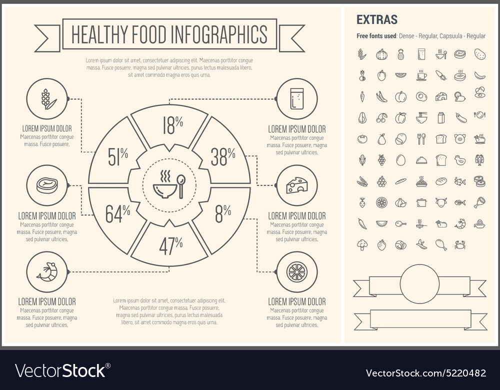 Healthy food line design infographic template vector