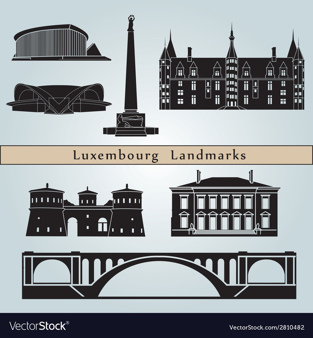 Luxembourg landmarks and monuments vector