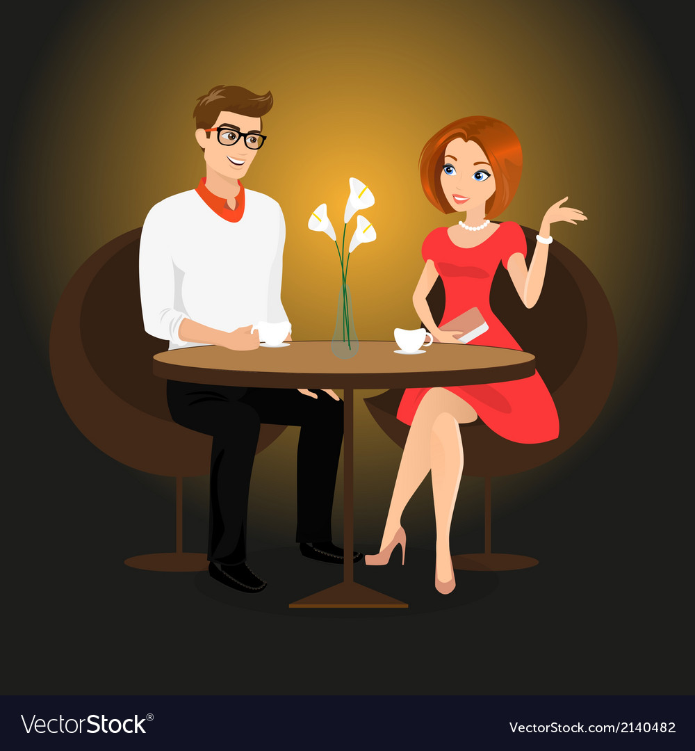 Young man and woman have a date in the restaurant vector