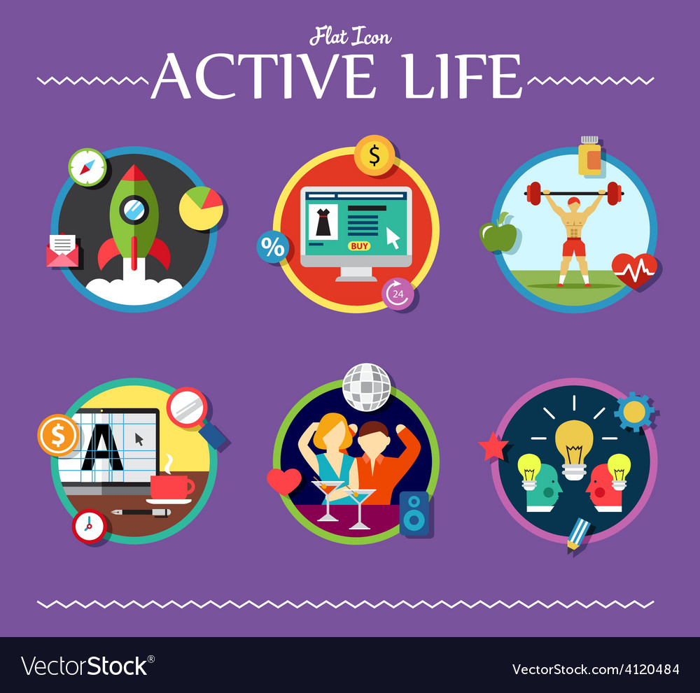 Active life collection of vector