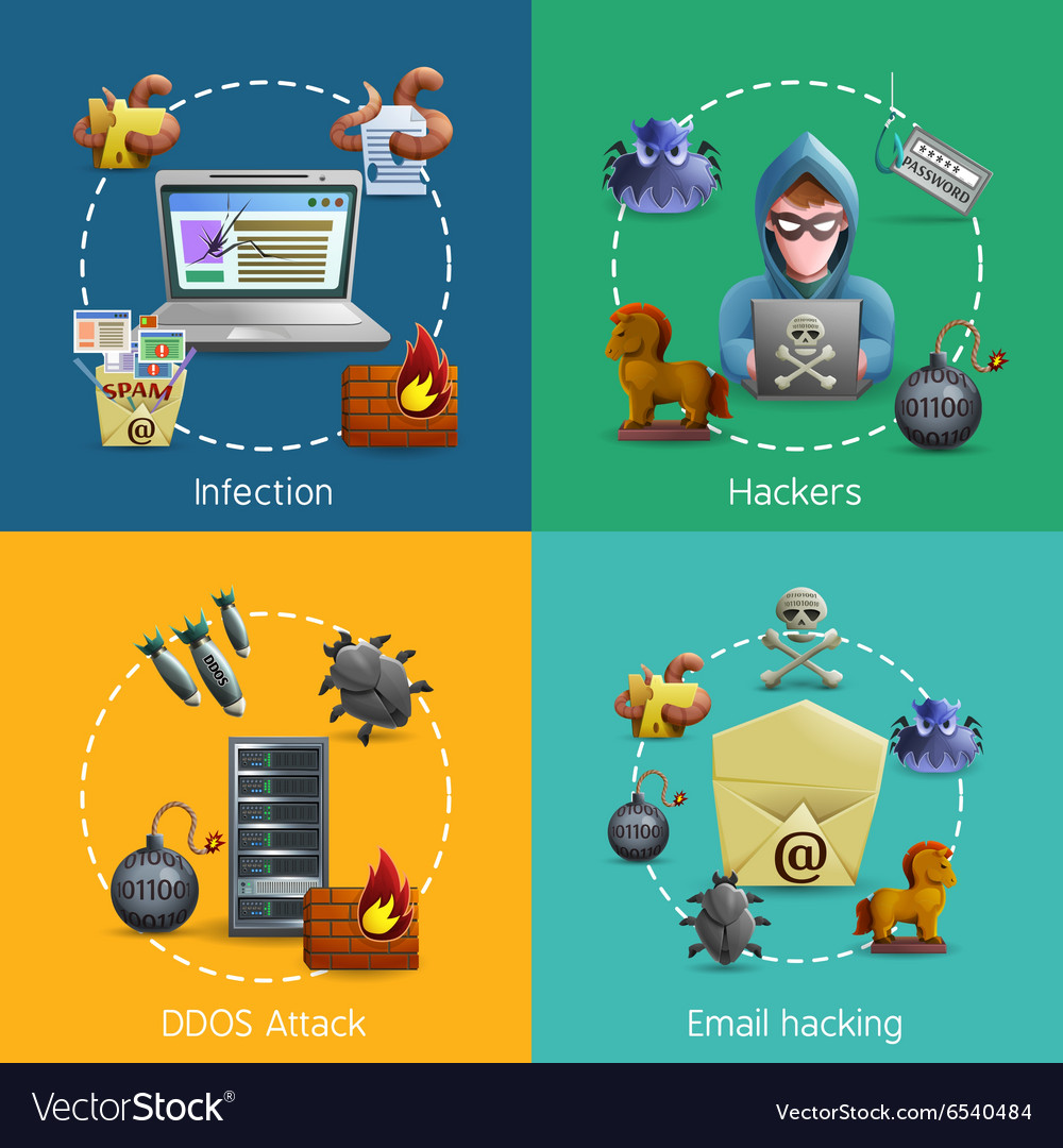 Hacker cyber attack icons concept vector