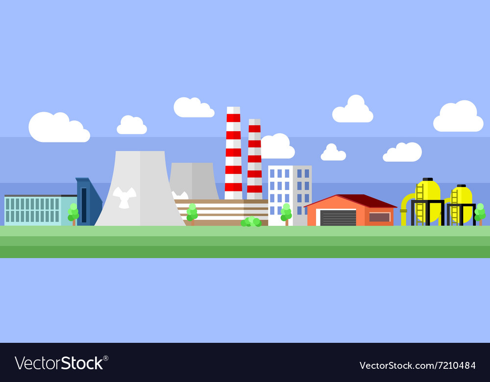 Industrial factory building vector