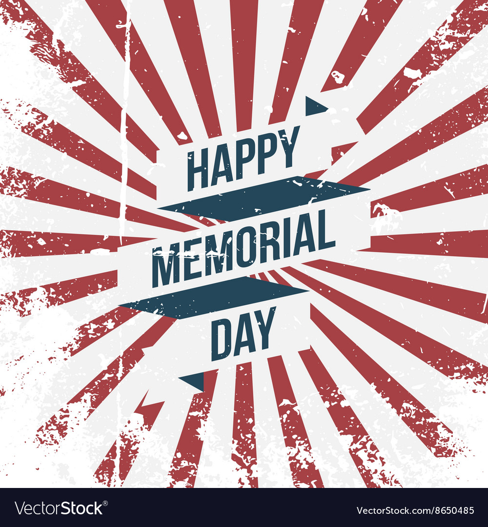 Happy memorial day ribbon and text vector