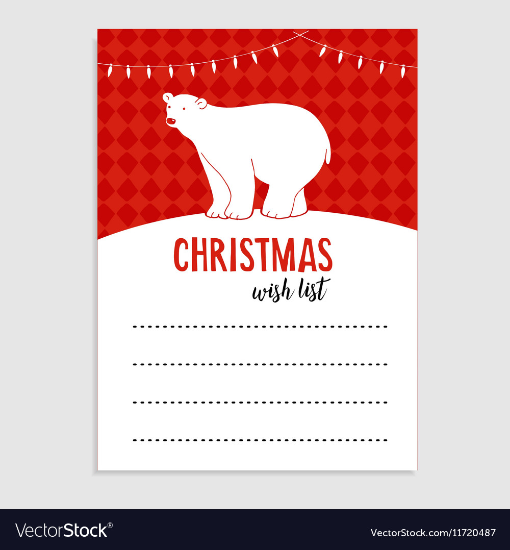 Cute christmas greeting card wish list polar vector