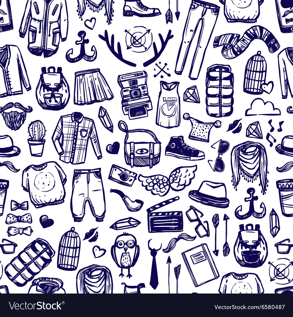 Hipster fashion clothing doodle seamless pattern vector
