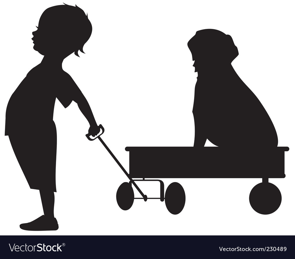 Boy with wagon vector