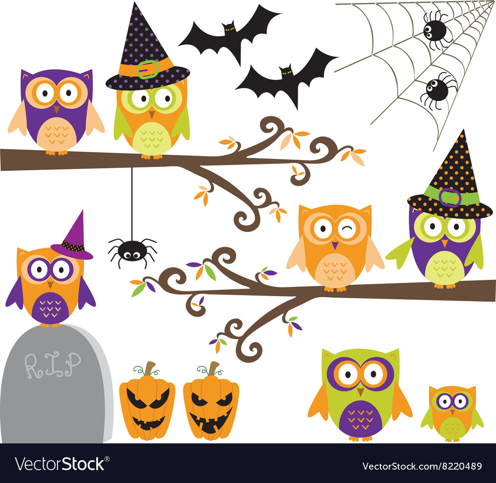 Happy halloween owls collections vector