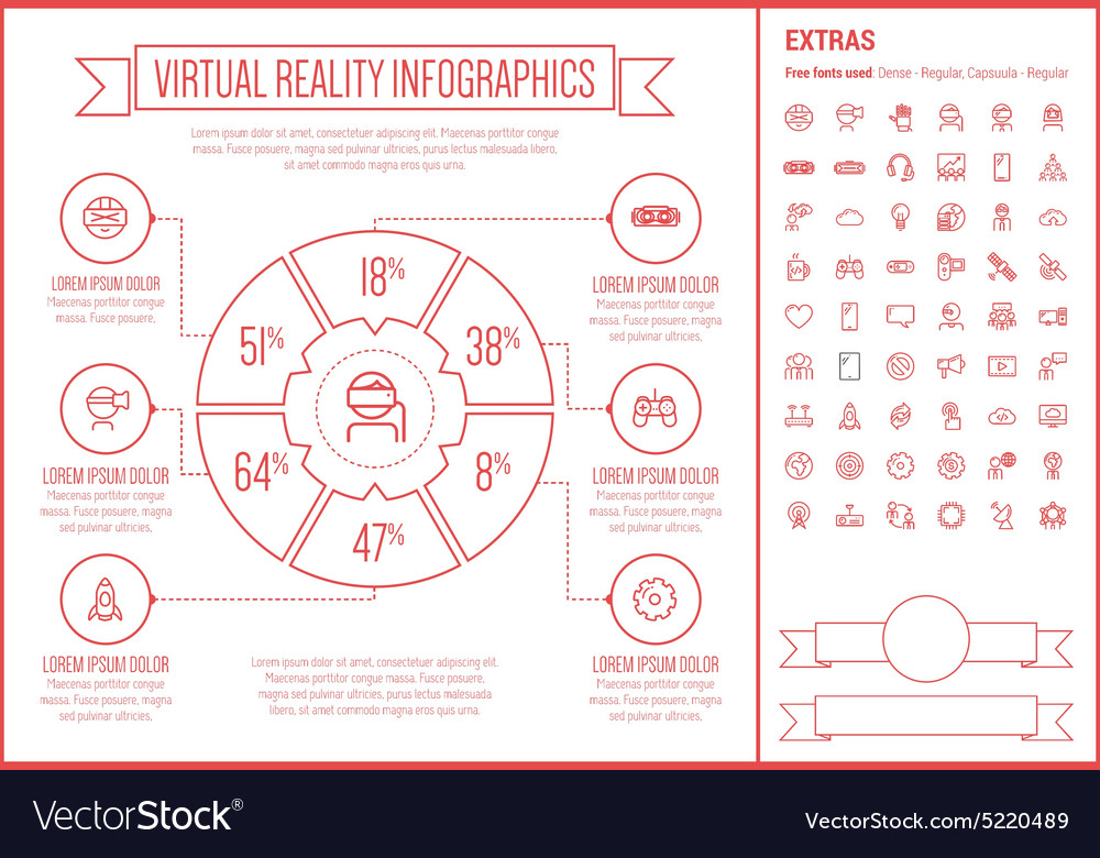 Virtual reality line design infographic template vector