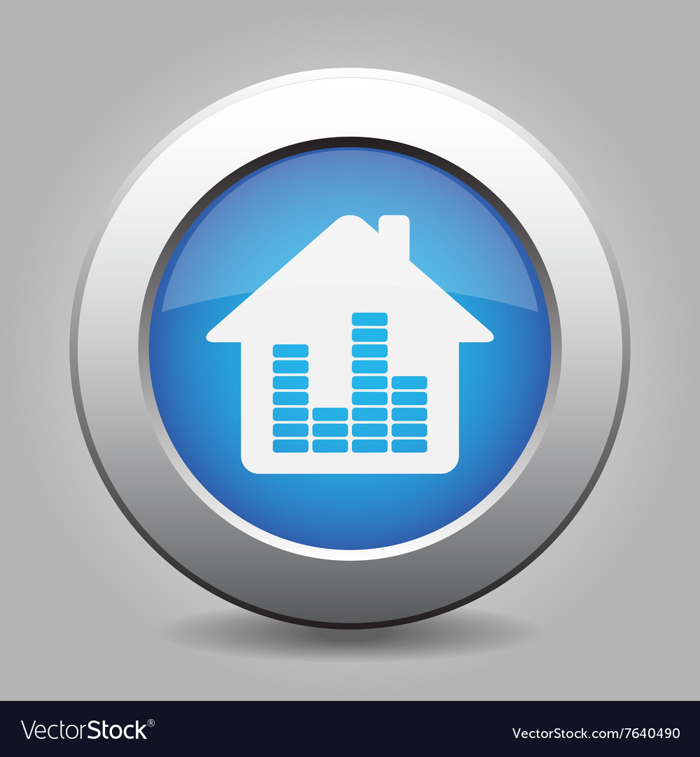 Blue metal button  house with signal vector