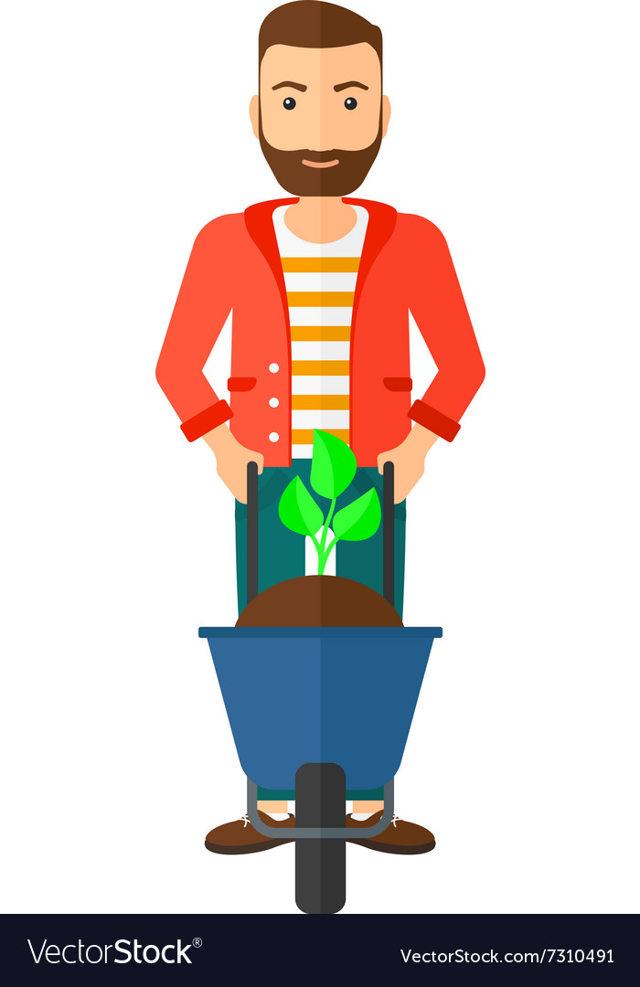 Man with plant and wheelbarrow vector
