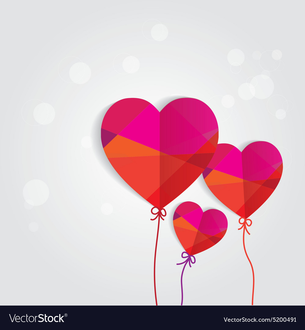 Valentines heart balloons vector