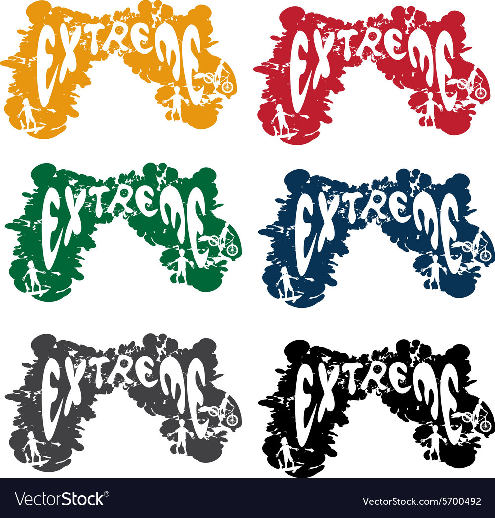 Grunge extreme sport cartoon silhouettes set vector