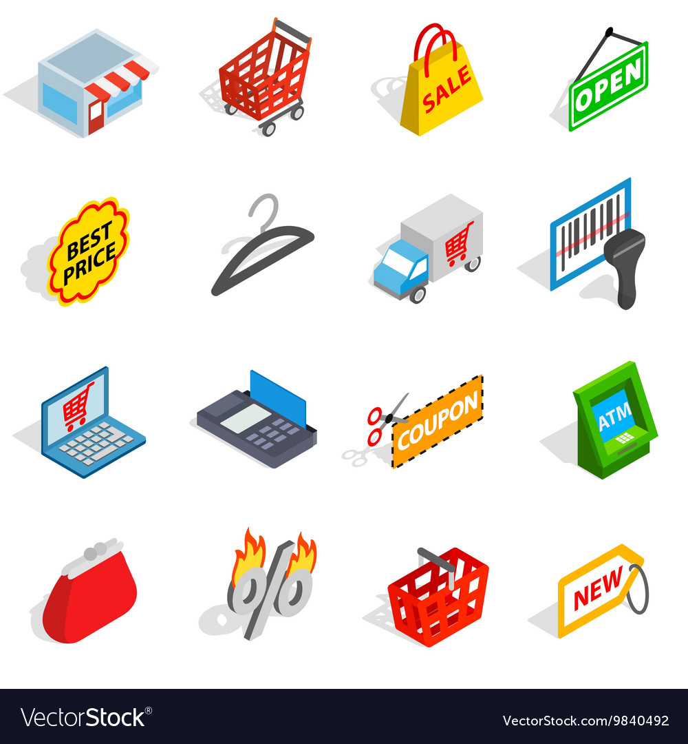 Shopping icons set isometric 3d style vector