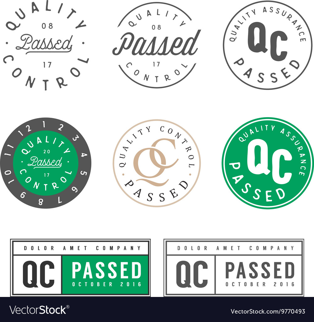 Quality control passed stamps and stickers vector