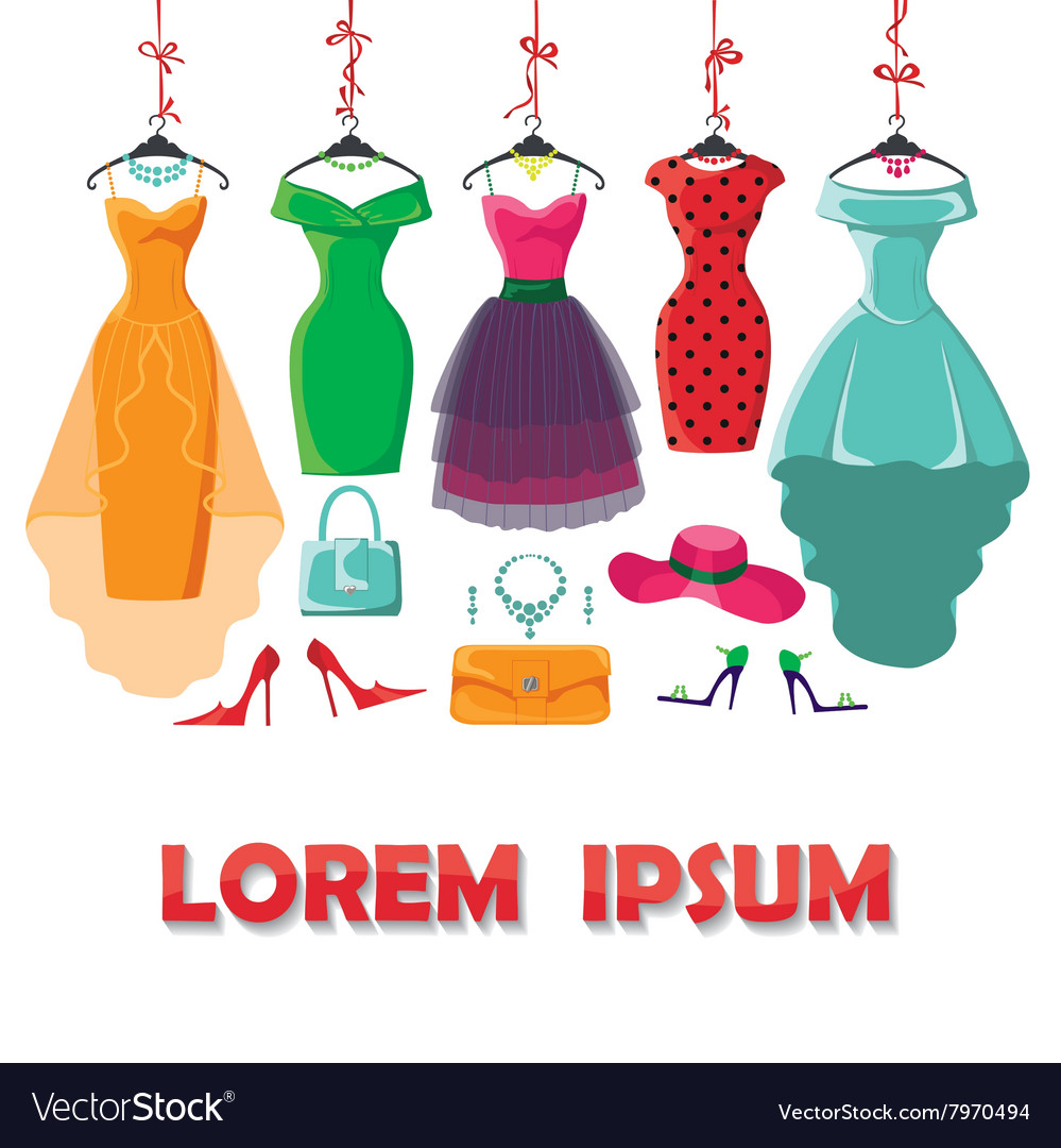 Colored summer dresses and accessories set vector