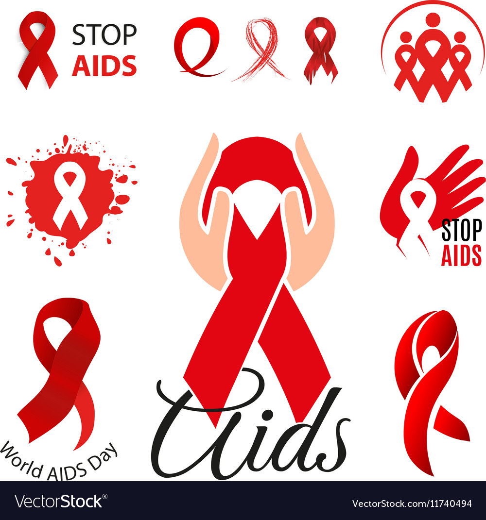 Isolated red ribbon disease awareness logo world vector