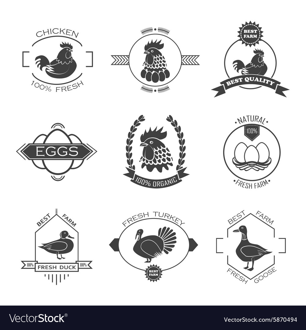 Set of poultry farm logo emblem chicken turkey vector