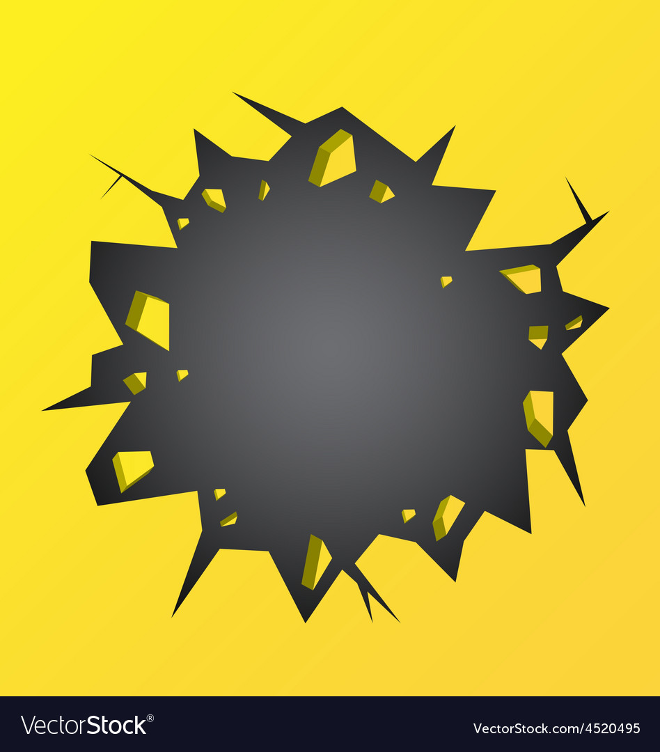 Hole cracked in the yellow wall vector