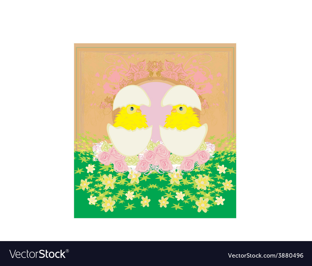 Cute chickens and easter tree frame vector