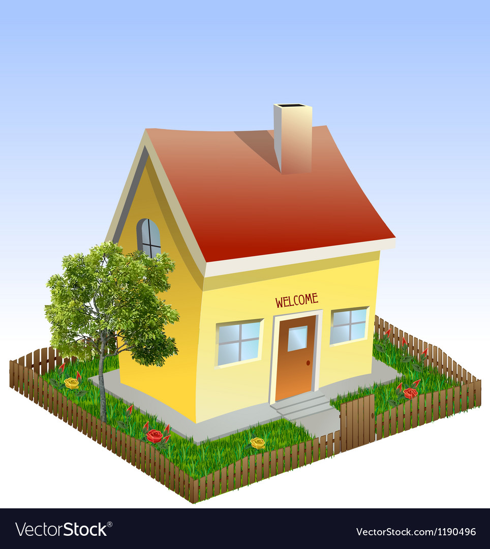 House in the yard with tree and grass vector
