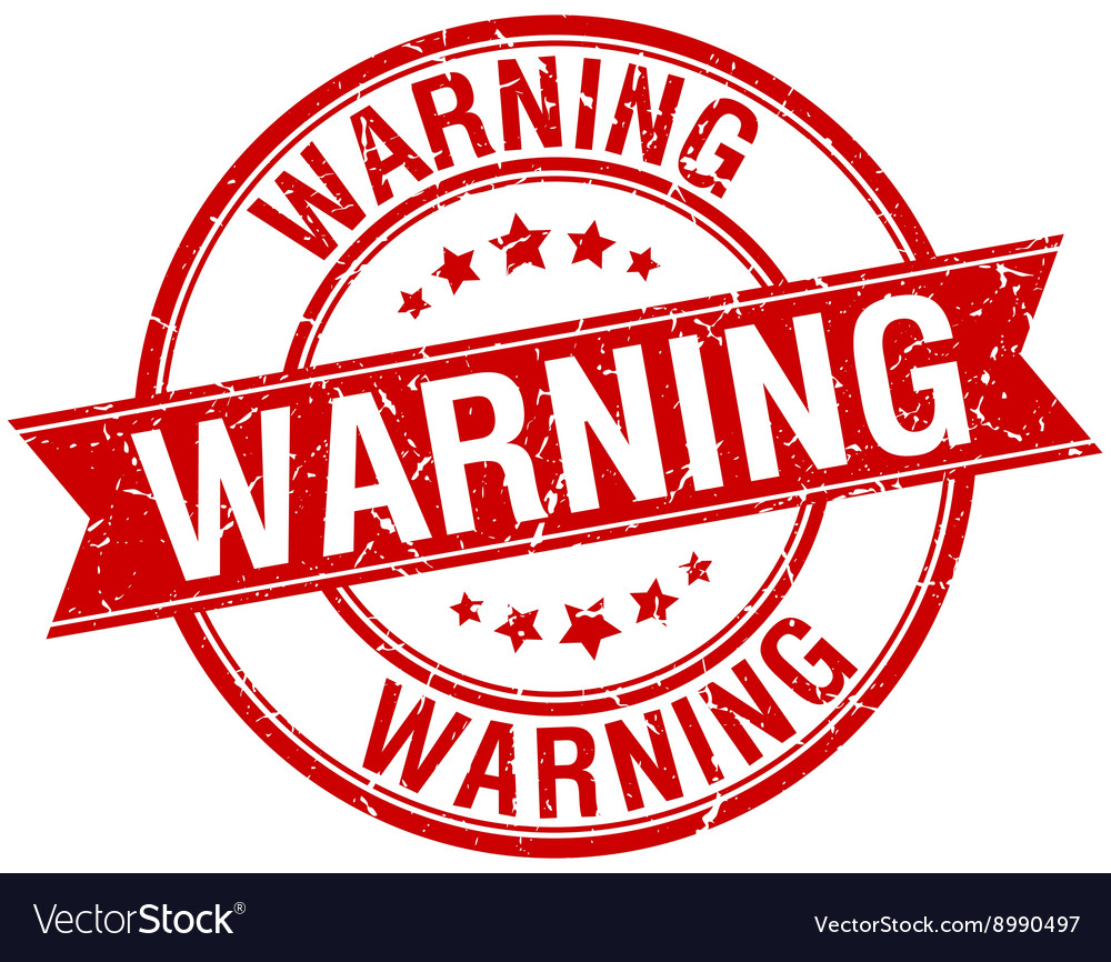 Warning grunge retro red isolated ribbon stamp vector