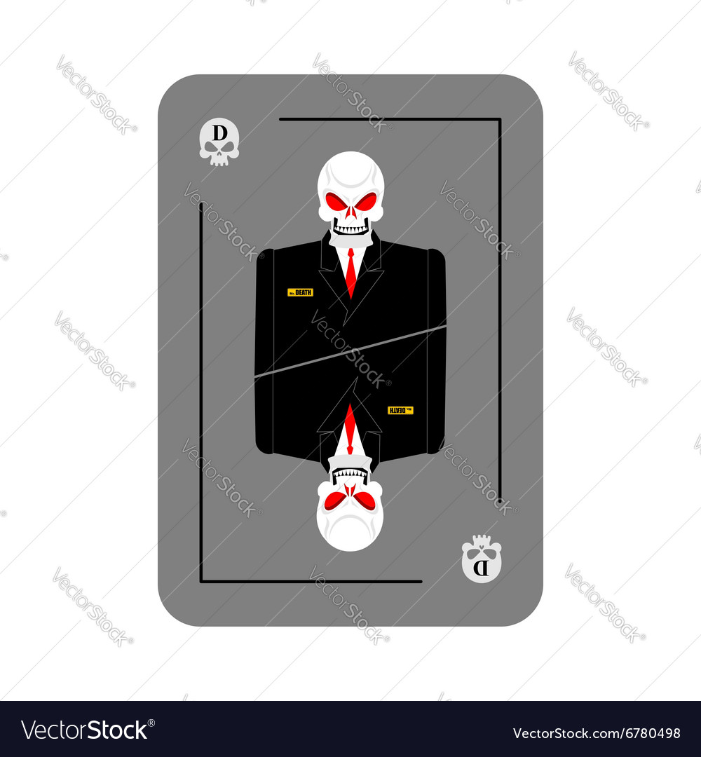 Playing card death skeleton in business suit new vector