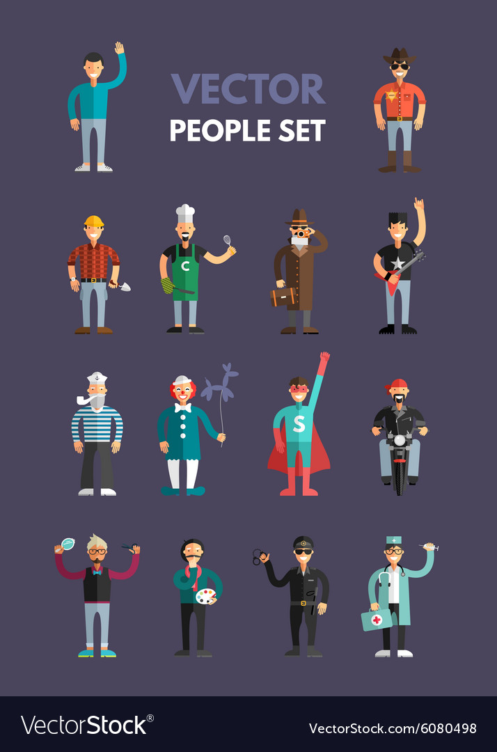 Set of flat design professional people characters vector
